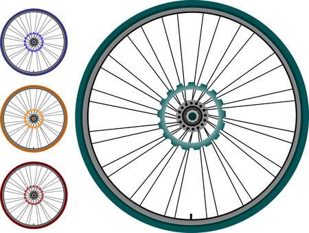 bike vector: Conjunto de rueda de bicicleta - ilustraci�n vectorial sobre fondo blanco