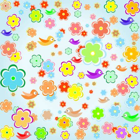 colorful bird with Spring flower background Vector