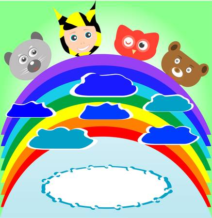 cute kid and smile animals viewing rainbow Vector
