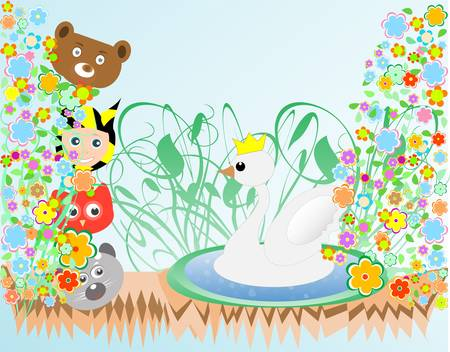cute baby boy and animals viewing duck with crown background Vector