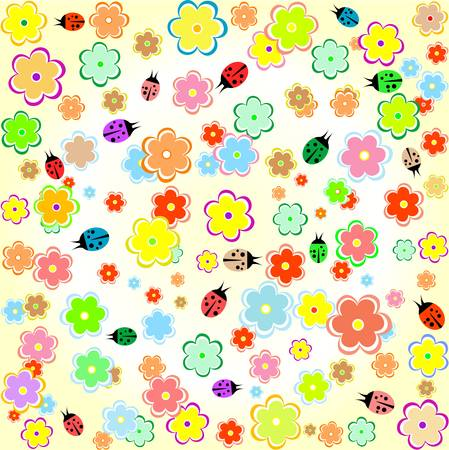 Flowers and ladybugs yellow seamless background wallpaper Vector