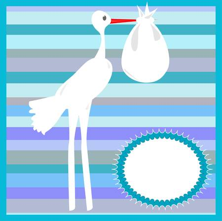 Stork delivering a baby on striped blue background Vector