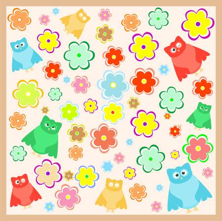 funny cartoon owl with flowers background Vector