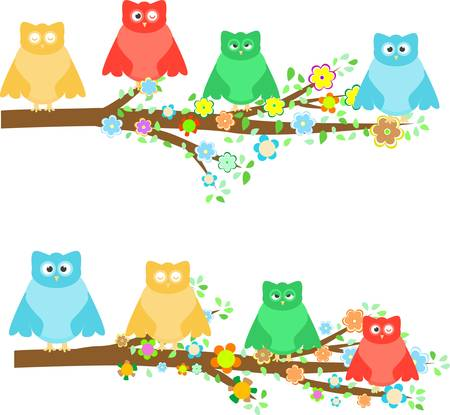 family owls sitting in tree branches with flower Vector