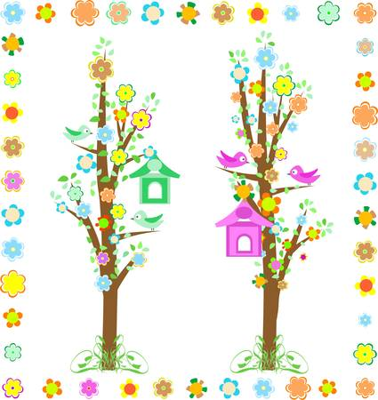 spring tree with birds with birdhouse and flower Vector