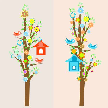 nestling birds: beautiful birds and birdhouses on trees background