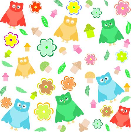 Bright background with owls, leafs, mushrooms and flowers Vector