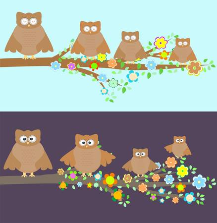 Family of owls sitting on a branch. Two variations Vector