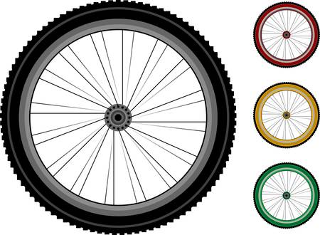Bicycle wheels. The series of the detailed wheels of the vehicles isolated on white Vector