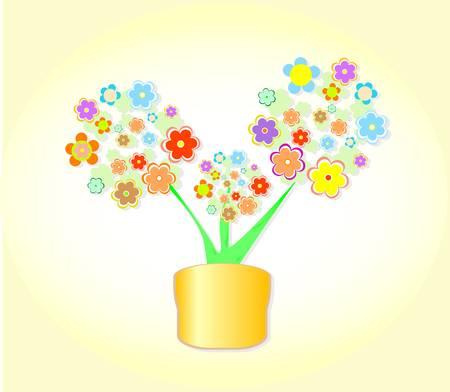 Abstract Flower In Pot, Flowerpot Background Stock Vector - 10596190