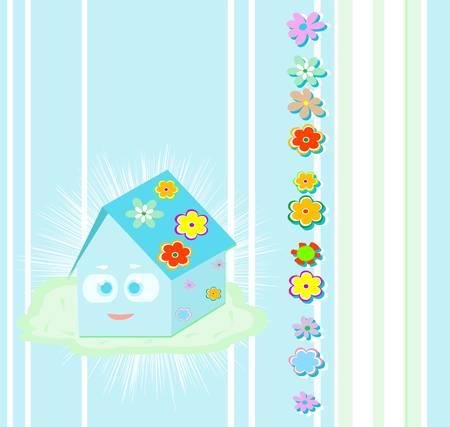 family smile cute house decor Stock Vector - 10625495