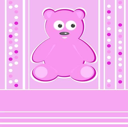 Cute Teddy Bear girl pink background