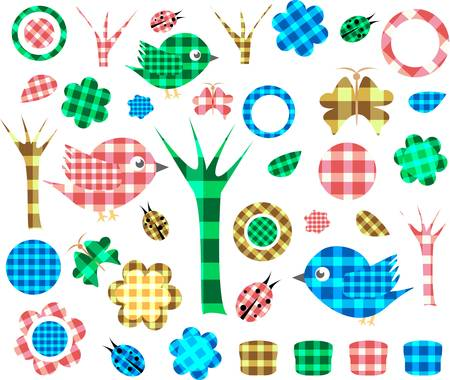 Nature textile stickers, Isolated On White Background Vector