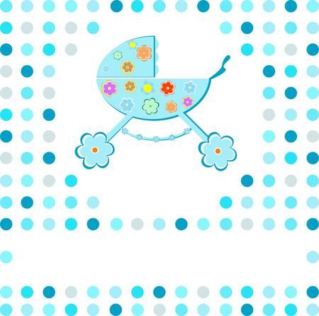 perambulator: nuovo baby boy carrozzina carta di annuncio Vettoriali