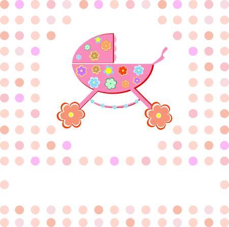 Baby girl Shower Announcement perambulator Vector