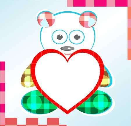 teddy bear greetings card with heart Vector