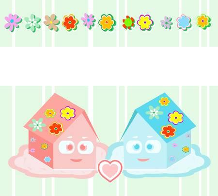 datcha: Vector, maisons petit jouet - amis, fille et gar�on