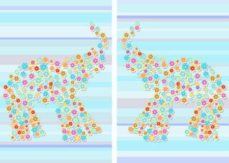floral Elephant on Abstract blue background photo