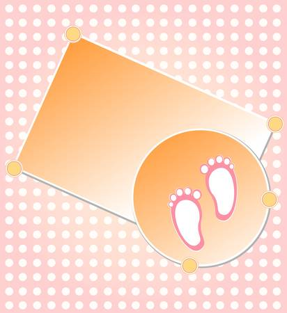 baby girl arrival: Baby girl arrival announcement card Illustration