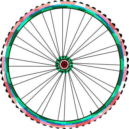 Bicycle wheels isolated on white. vector Vector