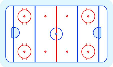 hockey goal: ice hockey field blue greetings card