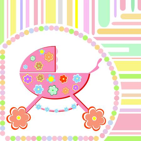 Baby girl arrival announcement greeting card Vector