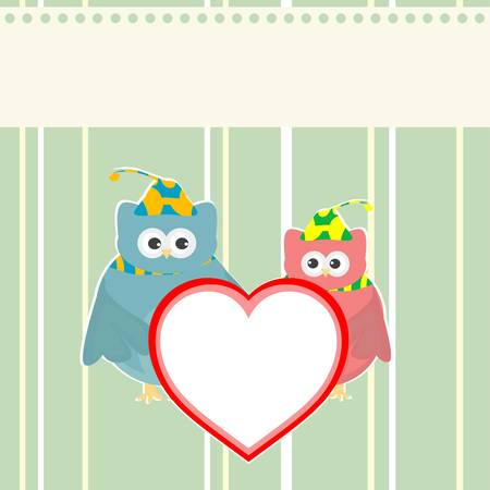 cute owl holding red love heart card background Vector