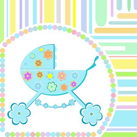 perambulator:  Baby boy arrival announcement greeting card Illustration