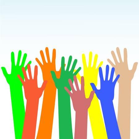 multiple image: happy hands multicolored on blue background Illustration