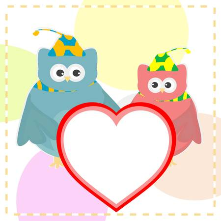 cute love owl with heart background Vector