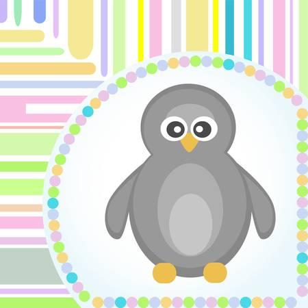 Template frame design for penguin greeting card  Stock Vector - 10917195