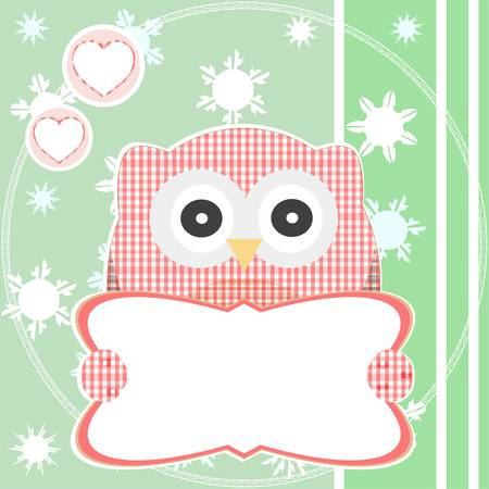 cute red owl holding empty blank sign Vector