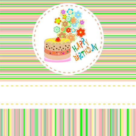 cute flower and cake happy birthday background Stock Photo - 10917224