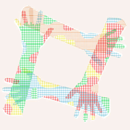 4 Connected multicolored hand friendship photo