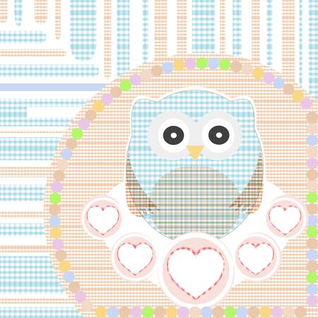 textile cute little owl with love heart Stock Vector - 10958754
