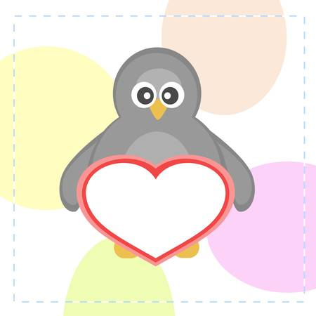 Cute penguins holding love heart card Vector