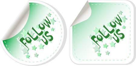 Volg ons label voor het ontwerp op een witte Stockfoto - 11086390