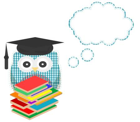narrate: Owl teacher and books with speech bubble