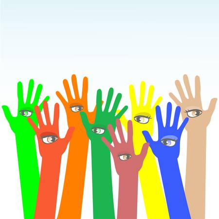happy multicolored hands with beautiful eye Stock Vector - 11086388