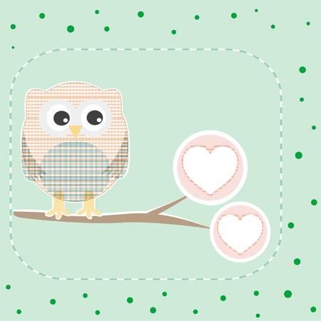 cute love owl on the branch birthday card Stock Vector - 11086393