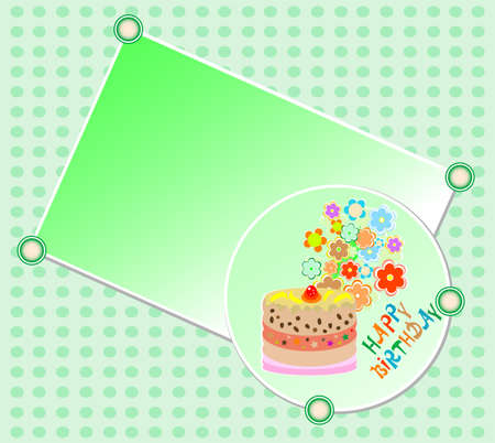 kids happy birthday party cake and beautiful flowers Stock Photo - 11086404