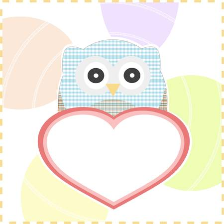 cute smile textile owls in love with a big heart Vector