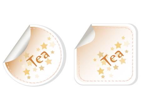 Tea set label stickers restaurant card Stock Vector - 11086403