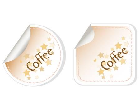 demitasse: Coffee stickers label brown set restaurant card