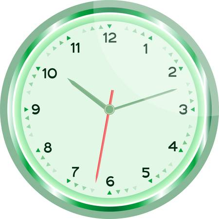 wall clock green Vintage isolated on white Vector
