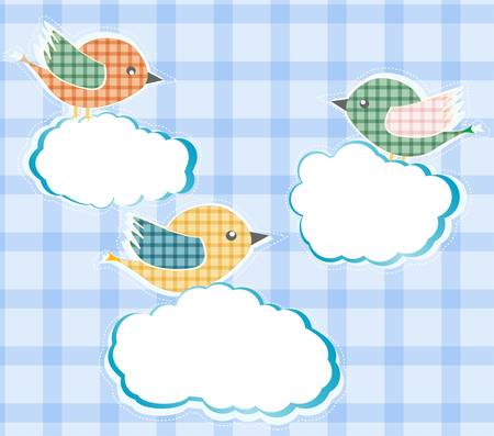 birds sitting on the clouds in sky.  Vector