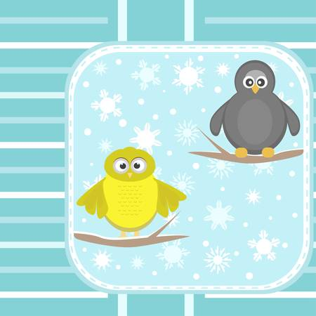 owl and a penguin on a tree under snowfall card Vector