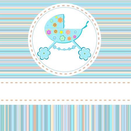 perambulator: Baby boy arrivo annuncio saluti carta