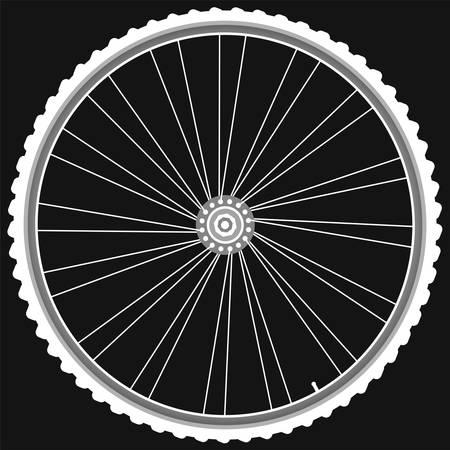 cerchione: ruote bici bianco isolato sfondo nero Vettoriali