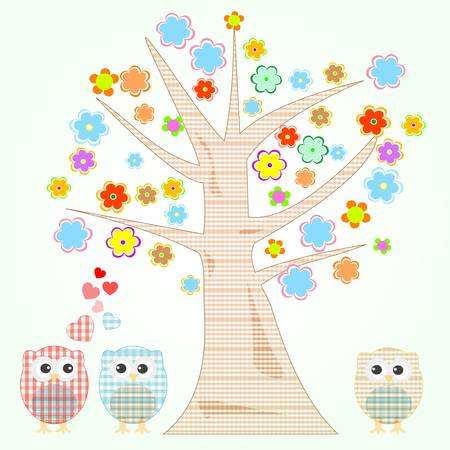 cute little owls in love tree and flowers